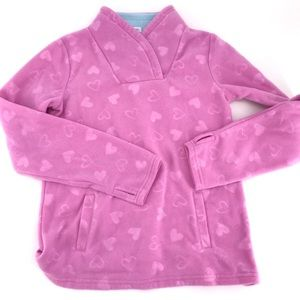 ATHLETIC WORKS. GIRL'S PINK HEARTS FLEECE TOP L